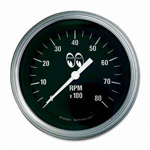 Moon Equipped 3 3  8inch 8000rpm Tachometer  Black