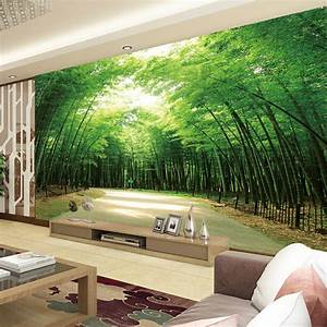Home Living Room Tv Background 3d Bamboo Mural Thai Wall ...