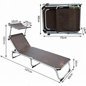 Chaise Bain De Soleil : chaise longue transat bain de soleil pliant avec pare soleil en aluminium chocolat 39 jardin ~ Teatrodelosmanantiales.com Idées de Décoration