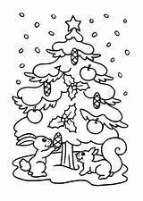 Coloring Tree Christmas Pages Printable Chrismas Snow Holidays sketch template