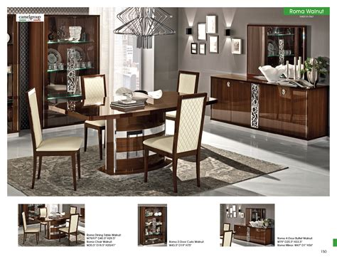 roma dining walnut italy modern formal dining sets