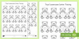 Toys lowercase letter tracing worksheet activity sheet for Letter tracing toy