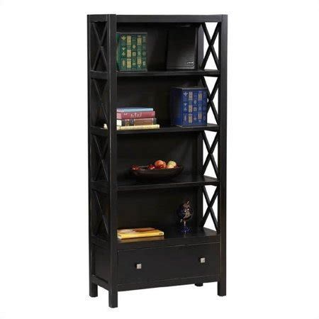 walmart black bookshelf linon collection 5 shelf bookcase in antique black