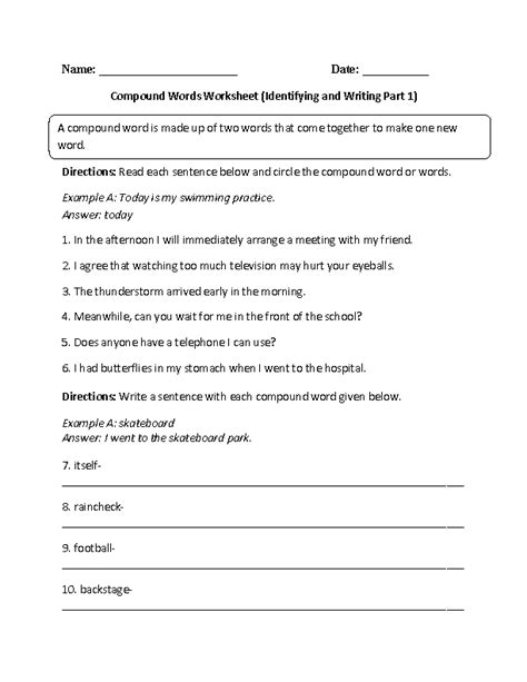 compound words worksheet identifying and writing part 1 intermediate englishlinx board