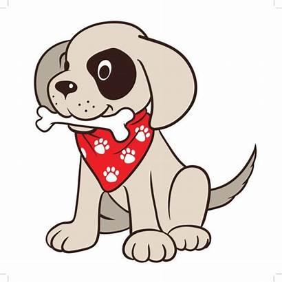 Dog Cartoon Bone Wearing Chien Mouth Bandana