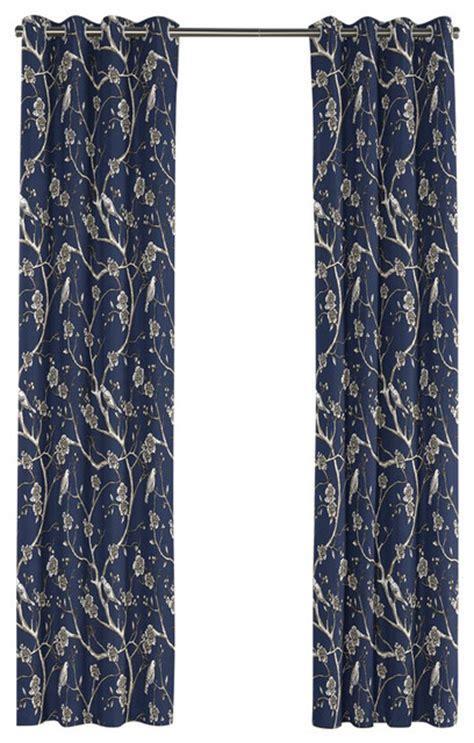 navy blue chinoiserie grommet curtain asian curtains