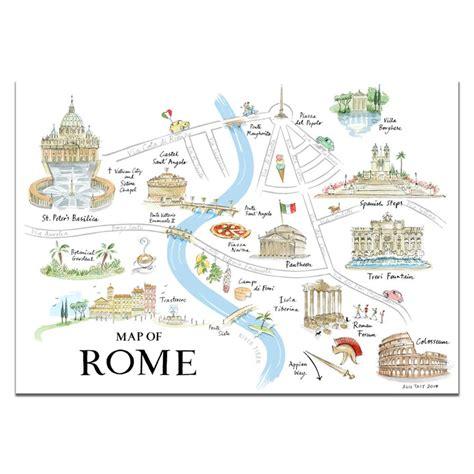 alice tait map  rome print   la dolce vita