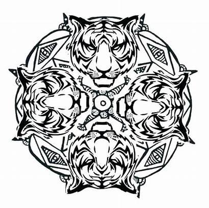 Mandala Coloring Wolf Pages Printable Animal Tiger