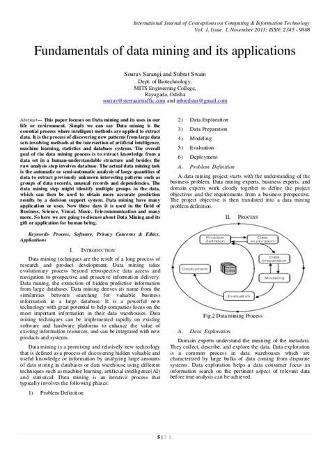 Fundamentals of data mining and its applications