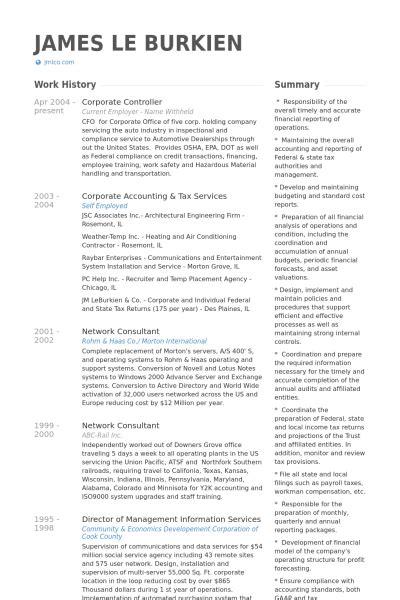 Corporate Controller Resume Samples  Visualcv Resume