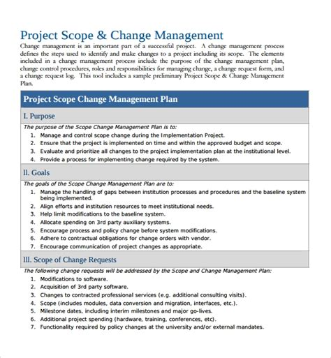 sample change management plan template