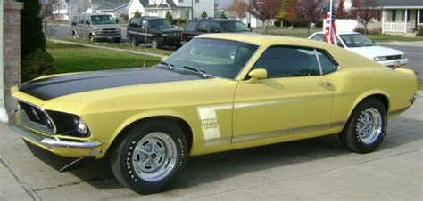 bright yellow  boss  ford mustang fastback