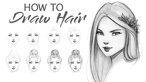 draw hair step  step tutorial youtube