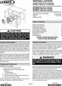 Lennox Air Handler Auxiliary Heater Kit Manual L0805583