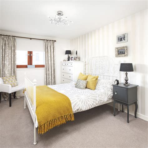 Pale Grey Bedroom With Mustard Yellow Accents  Ideal Home