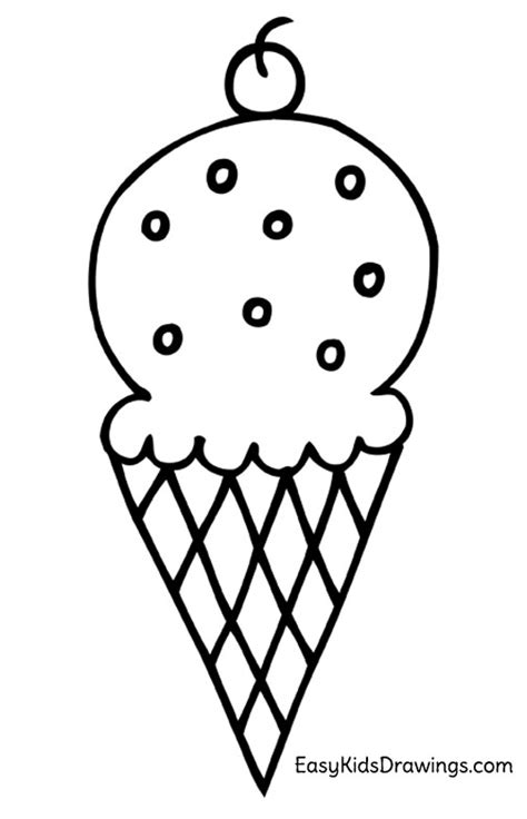 draw  ice cream cone easy kids drawings