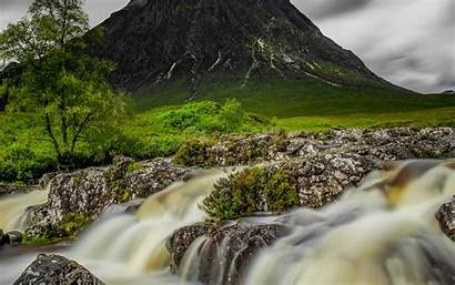 Stream Mountain River Water Background Stones 4k