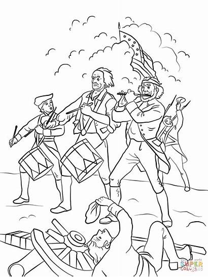 Coloring War Revolutionary Colonies Doodle American Yankee