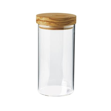 jar borosilicate glass olive wood lid 900 ml dia 10 h 11 cm berard