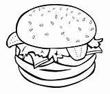 Coloring Pages Junk Burger Hamburger Easy Printable Drawing Adult Fast sketch template