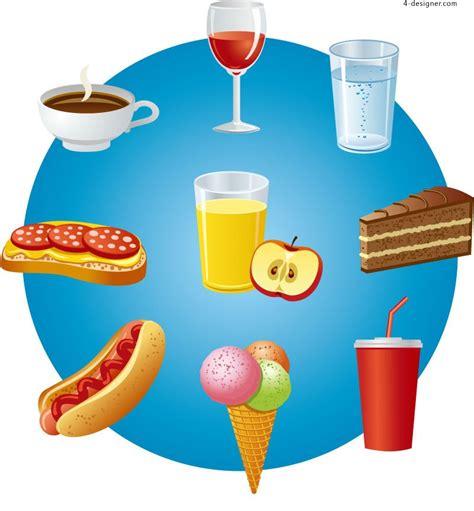 designer vector material  cartoon snacks  drinks