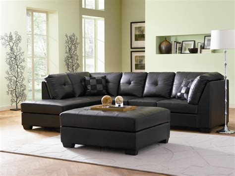 darie black leather sectional