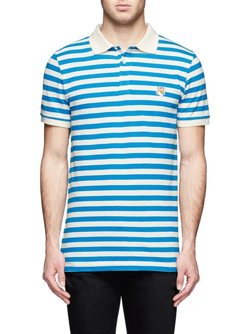 patches stripe blue shirt maison kitsuné fox patch stripe polo shirt in blue for