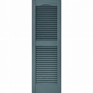 Builders edge 15 in x 48 in louvered vinyl exterior for Discount exterior shutters