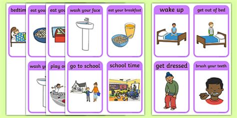 daily routine sequencing pictures teacher