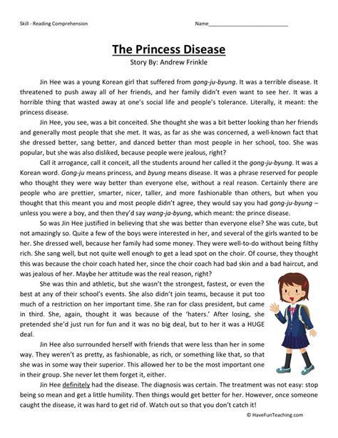 Reading Comprehension Worksheet  Princess Disease