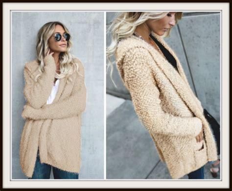 Soft And Cozy Fuzzy Long Open Boho Cardigan Sweater With Pockets, Beige, Khaki, Tan, Coat