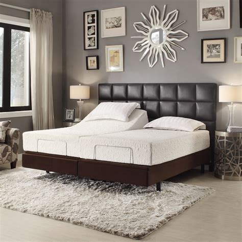 Rectangle Black Leather Headboard With Brown Wooden Bed
