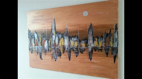 skyline abstract acrylic painting acrylmalerei