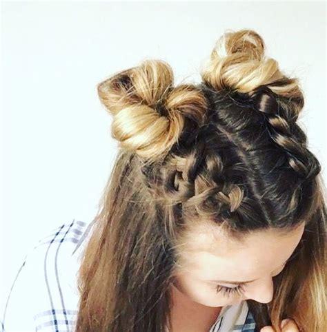 double dutch braid buns half up hairstyle braids
