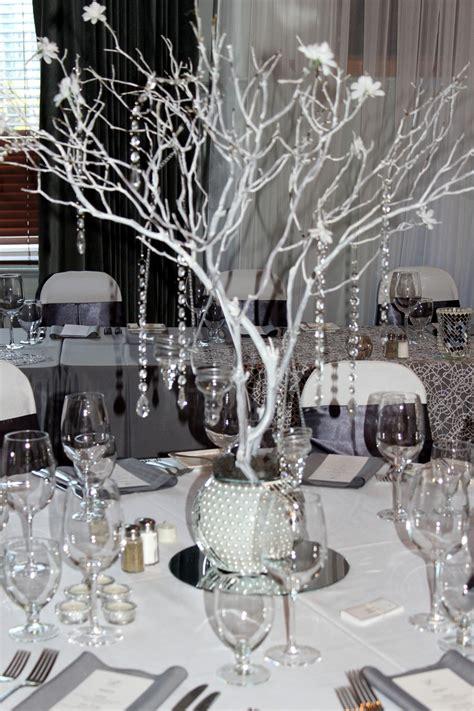 turquoise tablecloth black gray and bling wedding manzanita centerpiece grey