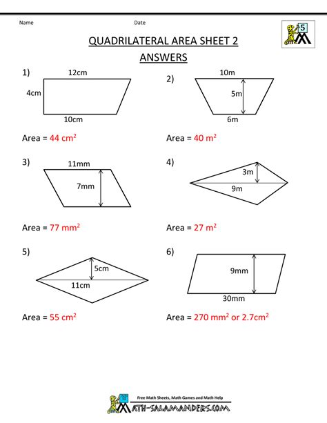 9 area of quadrilaterals worksheet project fans