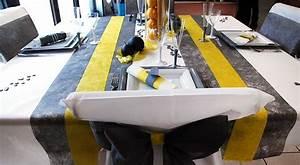 Deco Avec Du Gris : table blanche grise et jaune citron ~ Zukunftsfamilie.com Idées de Décoration