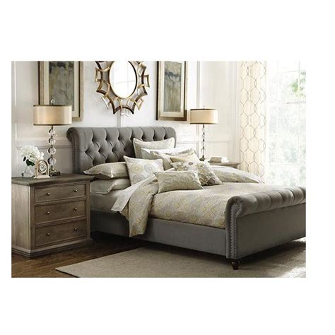 3162 grey upholstered king bed home decorators collection gordon grey king sleigh bed