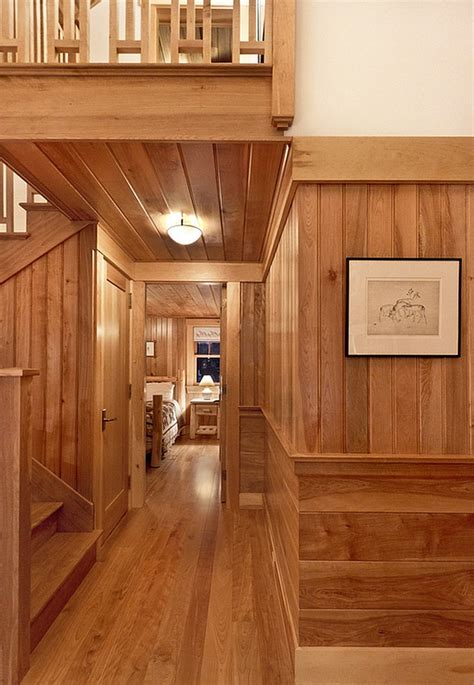 cozy cabin retreat combines warmth  wood   bright