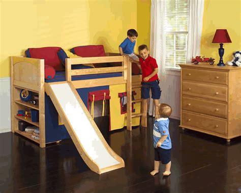 children s tent bed play fort low loft bed w slide by maxtrix blue