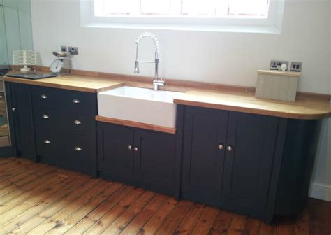 painted  standing kitchen belfast sink unit cupboards