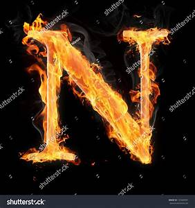 Letters And Symbols In Fire - Letter N. Stock Photo ...