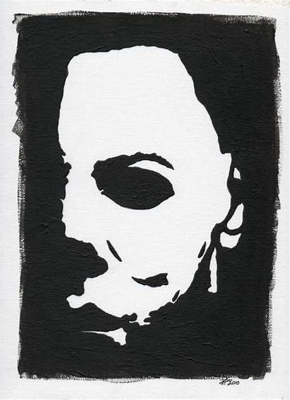Myers Michael Halloween Painting Paintings Canvas Drawing