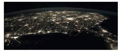 Space Station Night Usa States United International