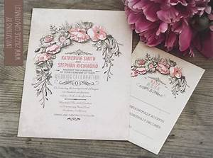vintage wedding invitation with floral wreath need With handmade wedding invitations with flowers