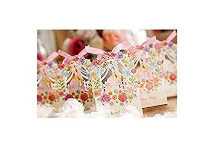 ASIBT 50ps Romantic Wedding Gift Box Elegant White Luxury