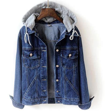2018 autumn jacket slim hooded jean jacket coat ripped boyfriend denim jackets in