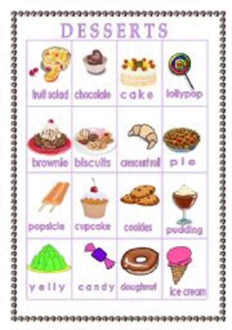 list of dessert names teaching worksheets pictionary