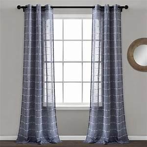 Lush, Decor, Farmhouse, Textured, Grommet, Sheer, Window, Curtain, Panels, Navy, 38x84, Set
