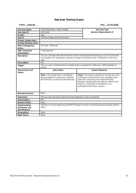 Service Desk Software Requirements by Help Desk Ticketing System Requirements Specification